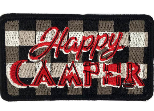 BUFFALO PLAID HAPPY CAMPER PATCH - BLUE