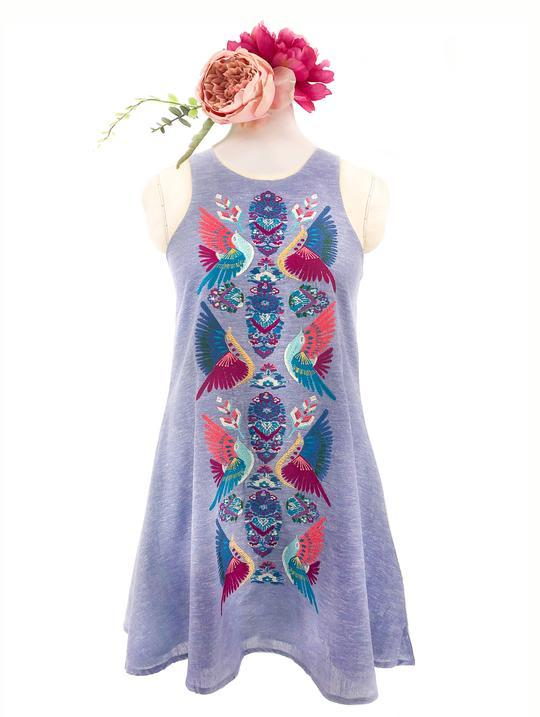 CHAMBRAY BOHO BIRD SHEATH DRESS FOR MOMMAS