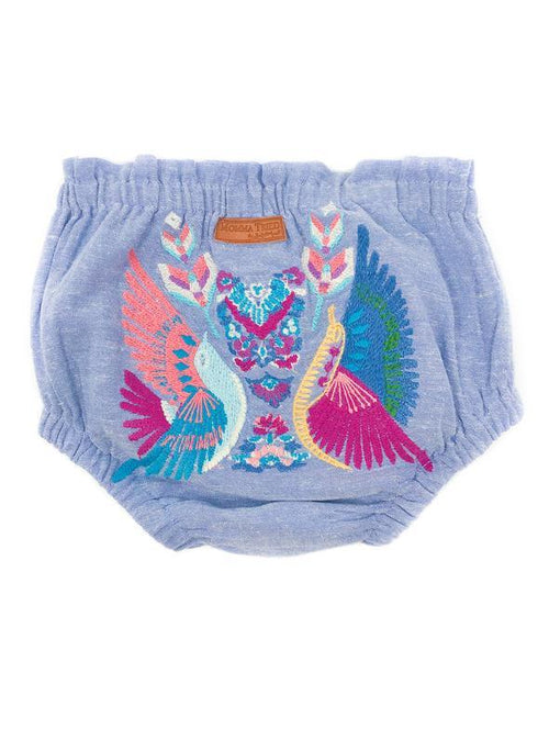CHAMBRAY BOHO BIRD EMBROIDERED DIAPER COVER