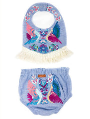 CHAMBRAY BOHO BIRD EMBROIDERED BIB & DIAPER COVER