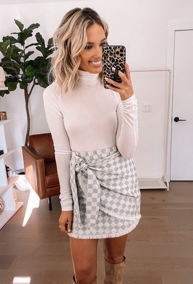 GREY CHECK MATE JACQUARD WRAP SKIRT