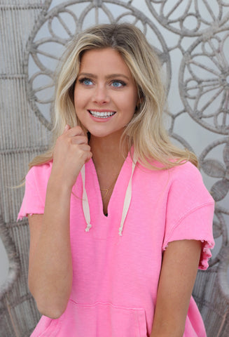 HOT PINK BEACH HOODIE TOP