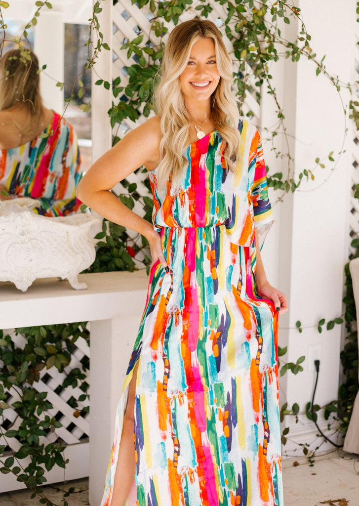 SUNSET ON THE BEACH ONE SHOULDER MAXI DRESS