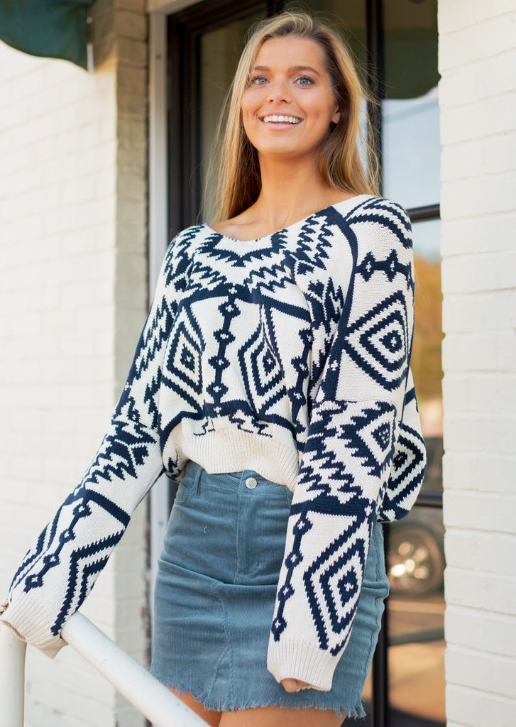 NAVY AZTEC SWEATER