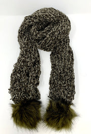 COZY CHENILLE SCARF WITH FAUX FUR POM POMS