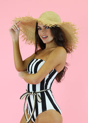 RETRO BLACK AND WHITE STRIPE ONE PIECE