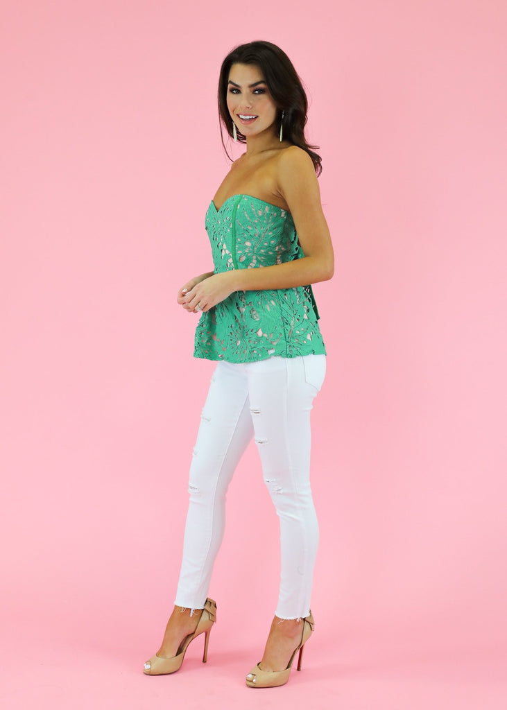 PALM PARADISE CROCHET PEPLUM TOP