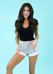 SILVER CHEETAH DENIM SHORT