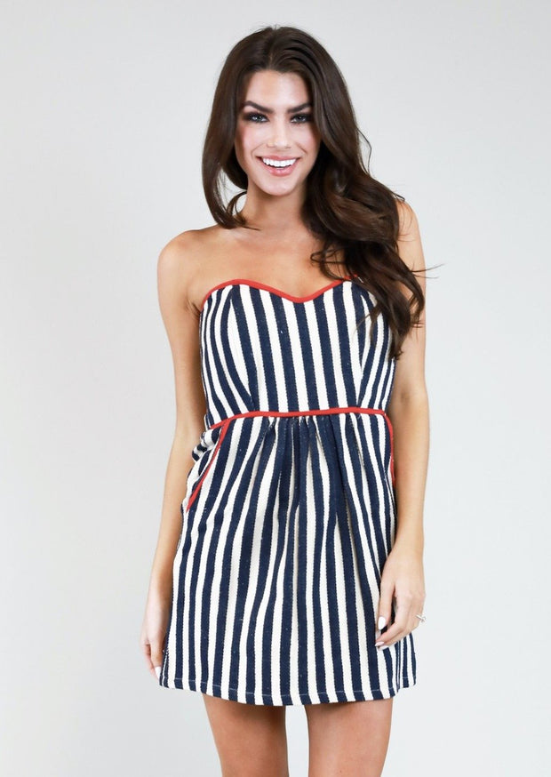 NAVY & IVORY STRIPE DRESS