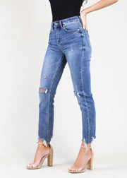 JUST JUDY HIGH-RISE DISTRESSED JEANS
