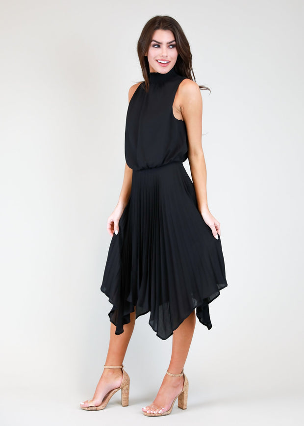 PENELOPE HIGH NECK MIDI SHIFT DRESS