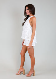 WHITE FRENCH QUARTER HiGH NECK CROCHET TOP