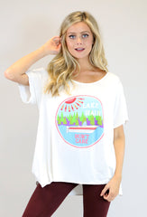 "WHITE FLOWY TEE W/ ""ABSTRACT LAKE HAIR DON'T CARE"""