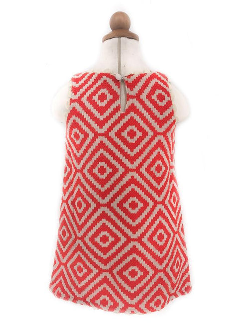 LILY EMBROIDERED GEO JACQUARD DRESS FOR LITTLE ONES
