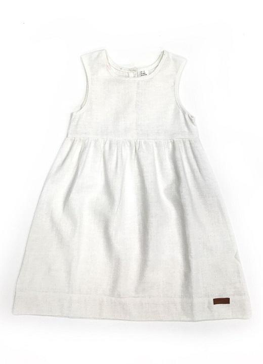 WHITE LINEN REESE DRESS WITH DAISY BACK