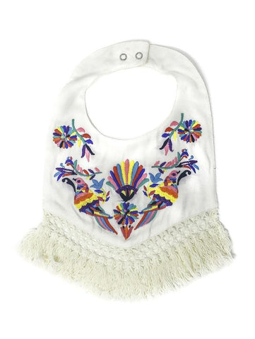 CHAMBRAY BOHO BIRD EMBROIDERED BIB