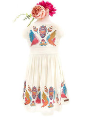 CREAM MEXICAN BOHO BIRD EMBROIDERED GRACE DRESS FOR LITTLE ONES