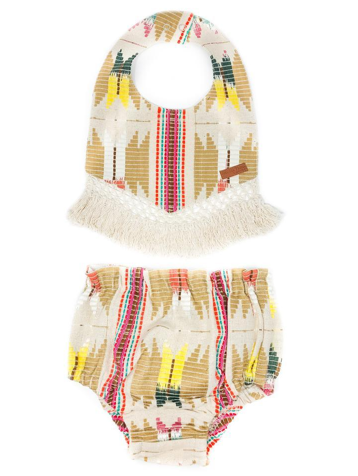 NAVAJO BIB WITH CROCHET FRINGE TRIM
