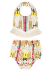 NAVAJO BIB & DIAPER COVER WITH CROCHET FRINGE TRIM