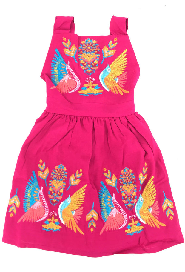 FUCHSIA MEXICAN BOHO BIRD EMBROIDERED GRACE DRESS FOR LITTLE ONES