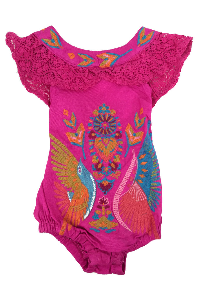 FUCHSIA BOHO BIRD EMBROIDERED PLAYSUIT FOR BABES