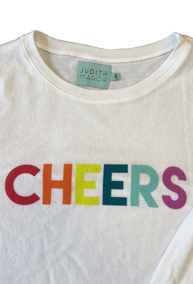 "IVORY FUZZY PULLOVER WITH ""CHEERS"""