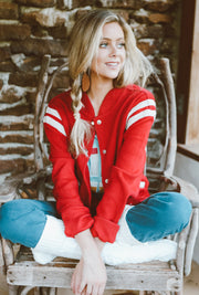 RED VINTAGE LETTERMAN JACKET