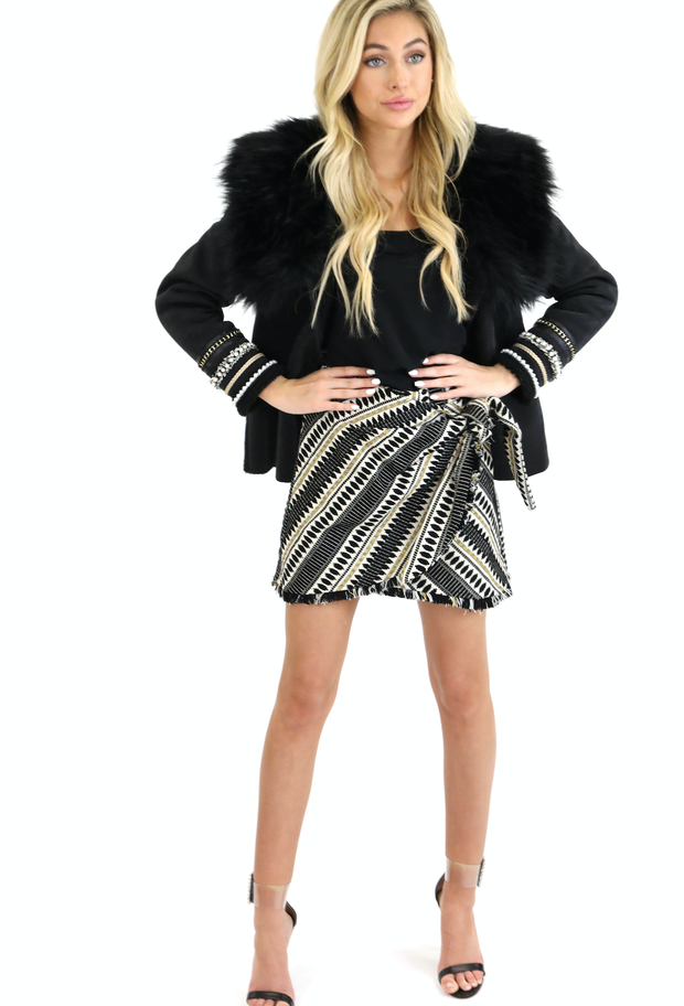 THE LITTLE BLACK JACQUARD WRAP SKIRT
