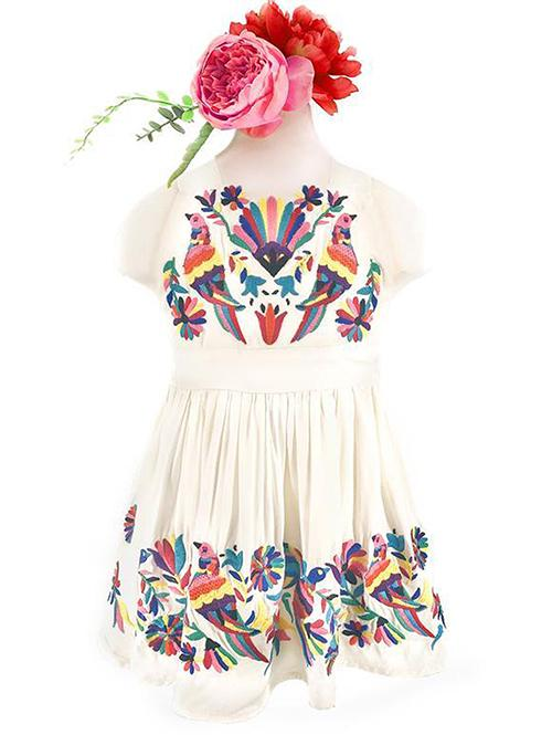 IVORY MEXICAN BIRD EMBROIDERED GRACE DRESS FOR LITTLE ONES