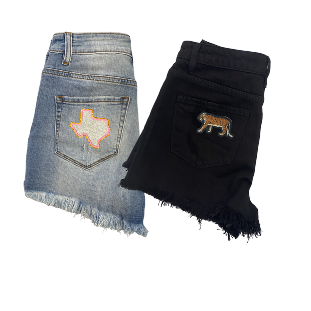 JM CUSTOM BLACK DENIM SHORTS