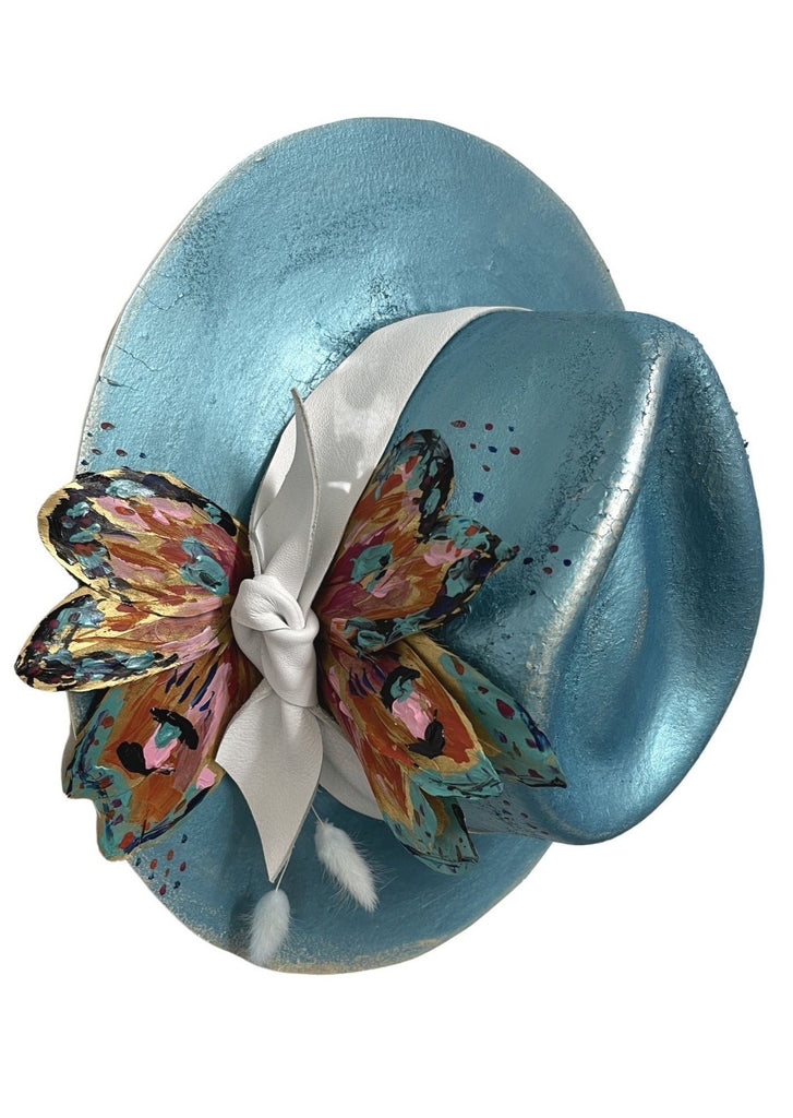 TEAL BLOOM BUTTERFLY HAT