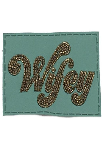 Turquoise Beaded Leather Wifey Patch - Red