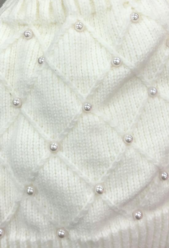 DIAGONAL PEARL BEANIE WITH FAUX FUR POOF