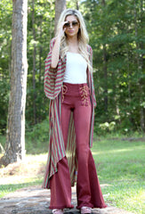 RUST DENIM FLARE PANTS WITH FRONT LACE UP DETAIL