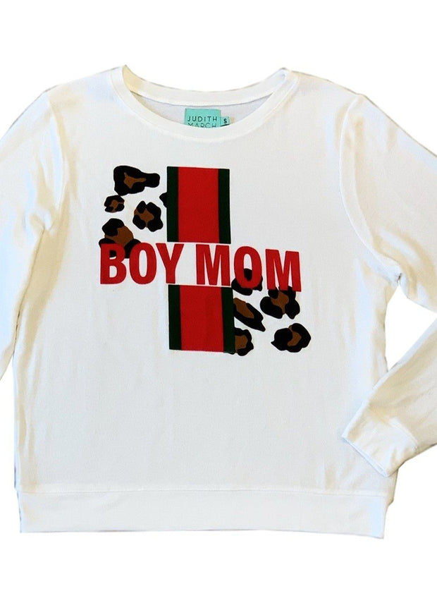 """BOY MOM"" FUZZY PULLOVER"