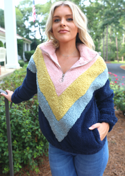CHEVRON COLOR BLOCK PULLOVER