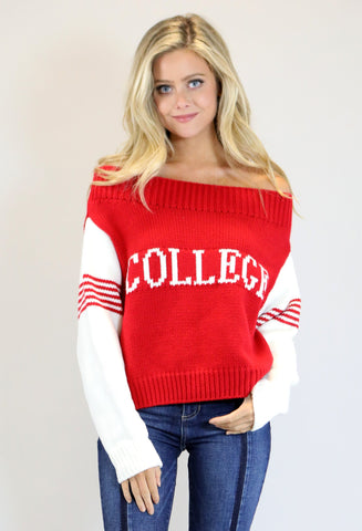 "NAVY ""COLLEGE"" SWEATER"
