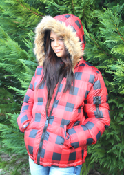 PRISCILLA PLAID PUFFER
