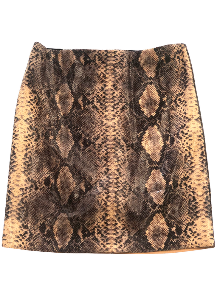 SNAKE PRINT LEATHER SKIRT