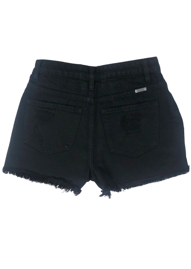 JM DISTRESSED BLACK DENIM SHORT