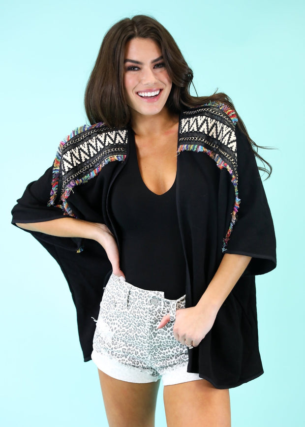 MADEMOISELLE BLACK EMBROIDERED COVER UP