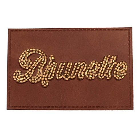 BEADED LEATHER BRUNETTE PATCH