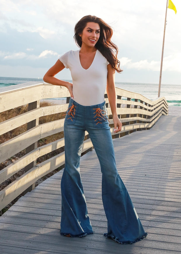 FRONT LACE UP STRETCH DENIM FLARES