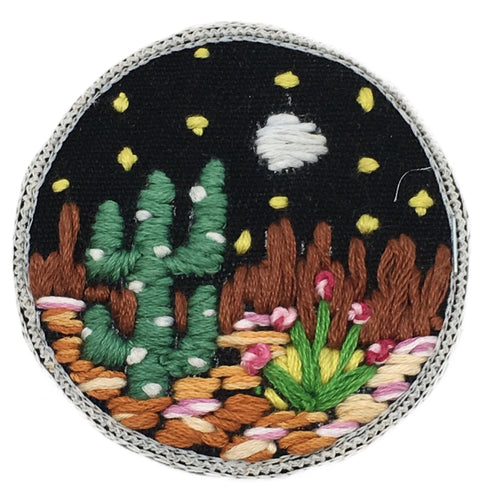 DESERT ROSE HAND EMBROIDERED PATCH - CROCHET