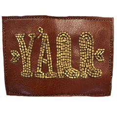 BEADED LEATHER Y'ALL PATCH