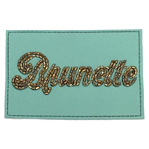 TURQUOISE BEADED LEATHER BRUNETTE PATCH - RED