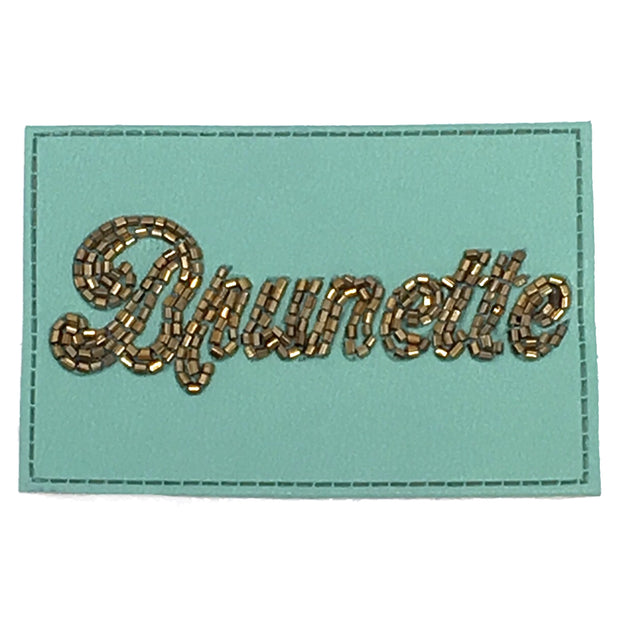 TURQUOISE BEADED LEATHER BRUNETTE PATCH