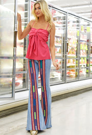 PARTY IN PERU DENIM FLARE PANTS W/ LACE INSETS