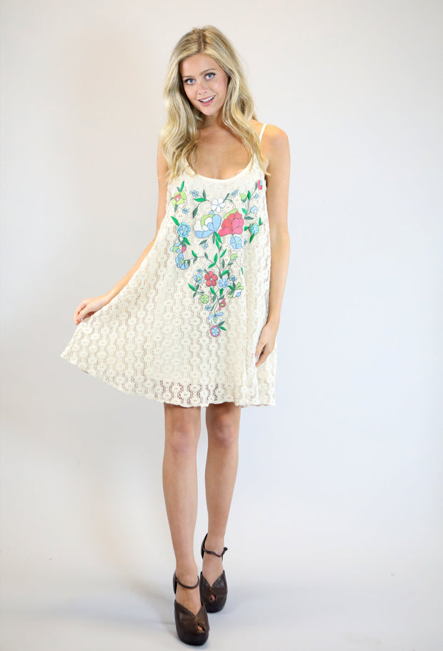 NATURAL CROCHET SWING DRESS WITH FLORAL EMBROIDERY