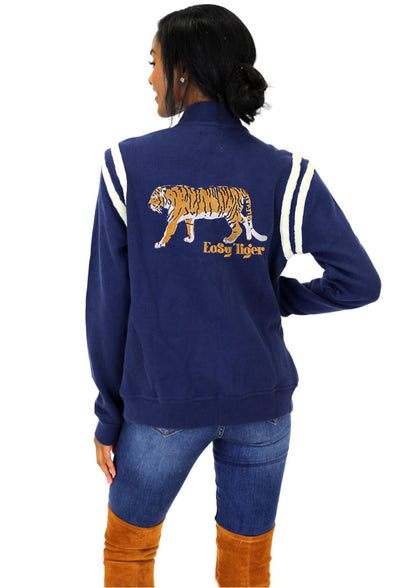 EASY TIGER PRINTED LETTERMAN JACKET